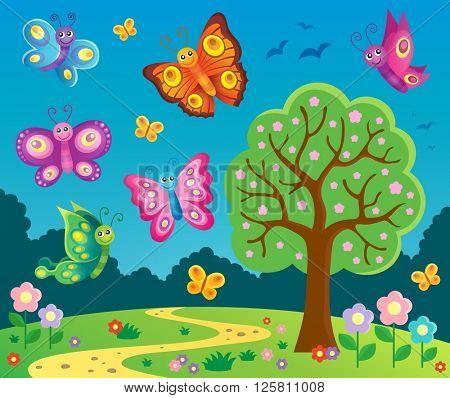 Happy butterflies theme image 6 - eps10 vector illustration.
