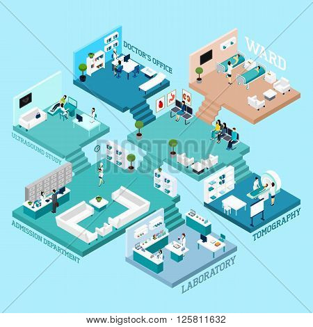 Hospital icons Isometric abstract scheme with various rooms staff  equipment and interior connected by stairs  vector illustration