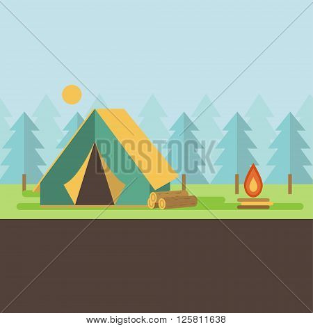Graphical camping illustration made in flat style. Vector camping concept with tent and nature around.
