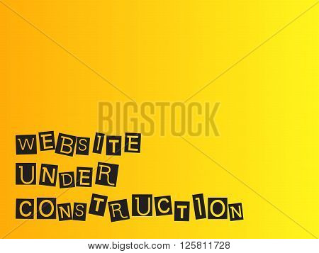 Abstract yellow background with text website under construction