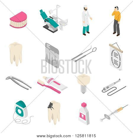 Set of color isometric icons about dentist patient tools vector illustration.
