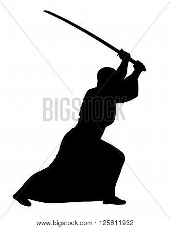 Vector illustration of aikido techniques with sword