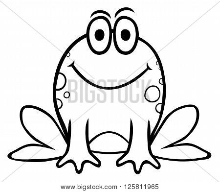 Funny vector illustration of frog cartoon style