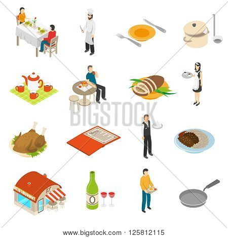 Restaurant cafe bar isometric icons collection with chef waiter and waitress serving customers food isolated vector illustration