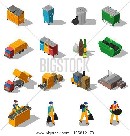 Garbage recycling and green waste collection services and facilities isometric icons collection abstract isolated shadow vector illustration