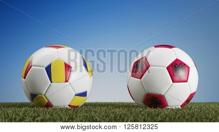 Football match Romania vs. Albania during european soccer game (3D Rendering)