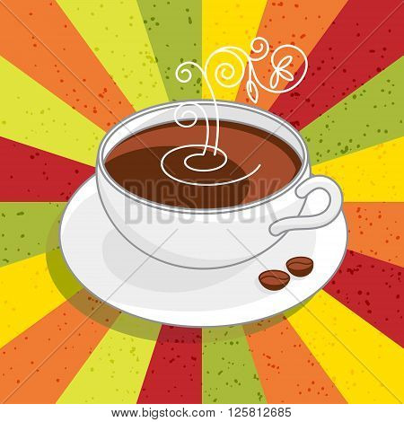 Poster with white cup of coffee and curls of steam on ?bright-colored background . Vector illustration.