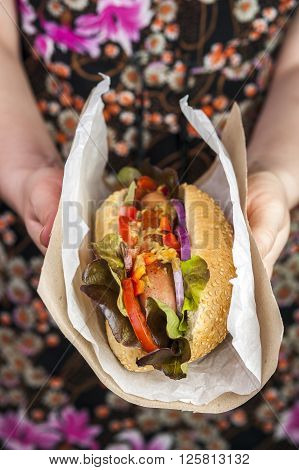 Delicious hotdog in female hands. Fast food.