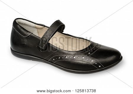 Black shoe for a girl isolated on white background.