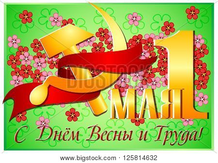 Postcard for Mayday. 1 may and russian symbol of labor gold hammer and sickle with red ribbon on green background. Russian translation: 1 may happy day of spring and labor. Vector illustration