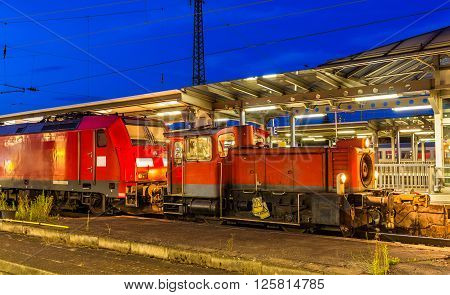 Small diesel shunter at Offenburg railway station. Germany - Baden-Wurttemberg