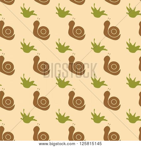Seamless ornamental pattern composed of silhouettes of snails and grass silhouette. Vector illustration.
