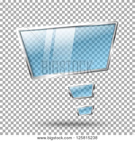 Transparent abstract hi tech glossy glass and metal shiny speech bubble . With place for your text. Vector illustration