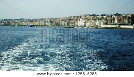 View of Santander from Cantabria sea, Spain