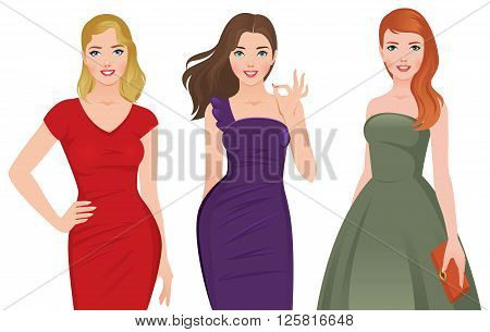 Group of young beautiful women in fashionable cocktail dresses on a white background vector illustration