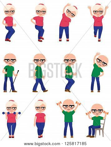 Set Elderly people do different sports exercises Stock vector illustration