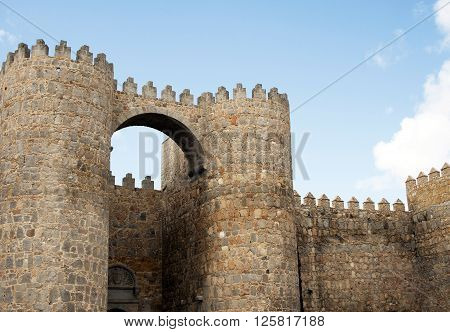 Puerta del Alcazar of castle Avila, Spain