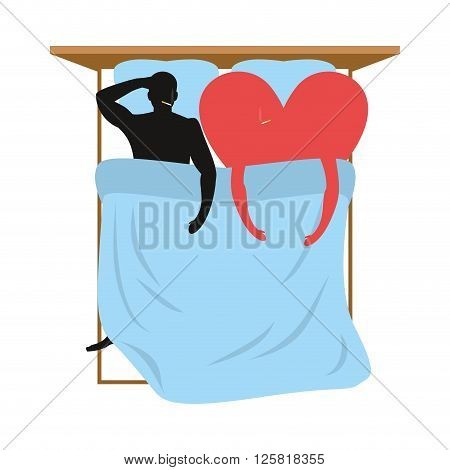 Love In Bed. Lovers In Bed Top View. Man And Heart Lie In Bed. Smoking After Sex. Heart- Symbol Of L