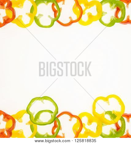 Fresh Bell Pepper Rings, On White Background With Copy-space