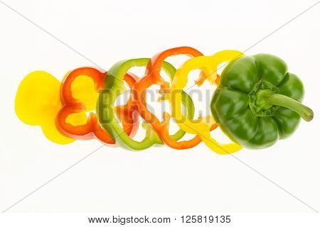 Fresh Bell Pepper Sliced Into Rings, Isolated On White