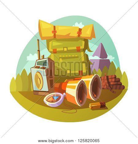 Hiking equipment cartoon concept with rucksack binoculars and compass vector illustration