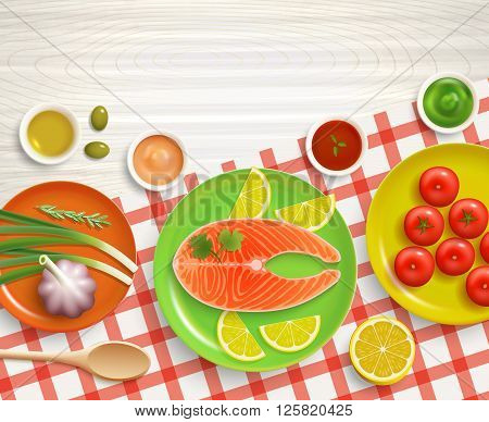 Flat lay cooking fish with tomatoes and lemon dish on checked tablecloth wood textured background vector illustration