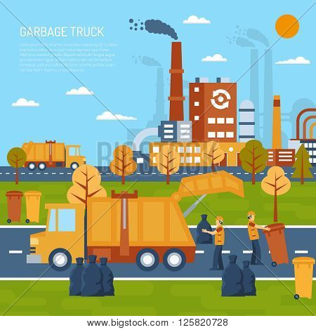 Garbage truck color illustration with title and information field vector illustration