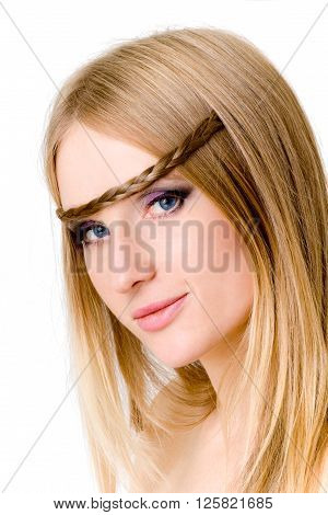 Portrait of beautiful blond-haired woman, isolated on white