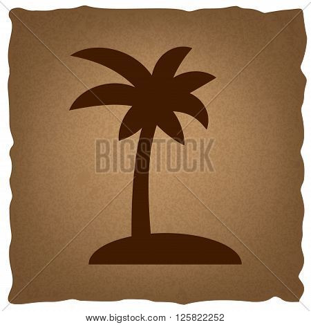 Coconut palm tree sign. Coffee style on old paper.