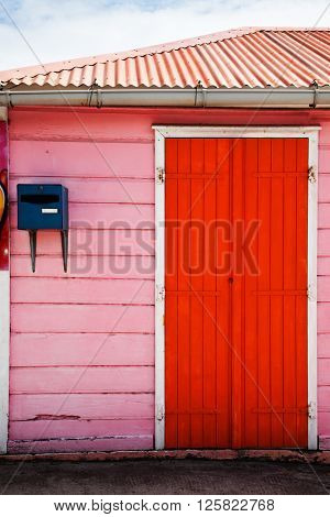colorful Caribbean houses tropical vivid colors, La Desirade, Guadeloupe