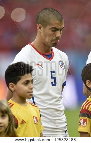 RIO DE JANEIRO BRAZIL - June 18 2014: Francisco SILVA of Chile during the FIFA 2014 World Cup. Spain is facing Chile in the Group B at Maracana Stadium