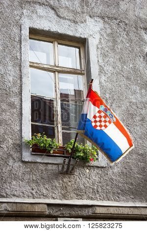 Croatian flag in the window of the old house in Zagreb, Croatia