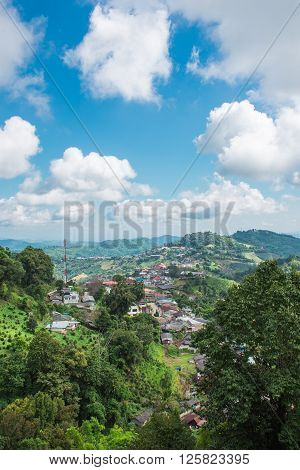 Small village in Doi Mae Salong mountain with blue sky Chiang Rai Thailand