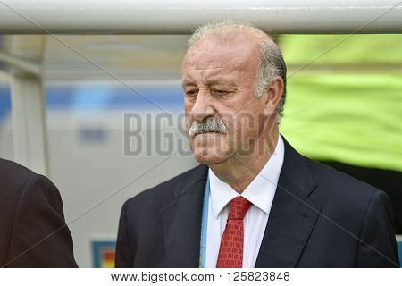 RIO DE JANEIRO BRAZIL - June 18 2014: Coach Vicente DEL BOSQUE (ESP) during the FIFA 2014 World Cup. Spain is facing Chile in the Group B at Maracana Stadium