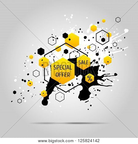 Vector grunge background with yellow geometric elements. Ink blots and hexagons.