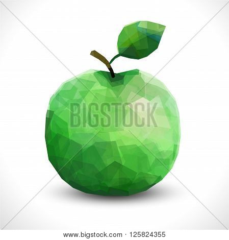 Realistic unusual polygonal isolated Apple. Modern vector editable polygonal fruit template. Polygon Apple New transparent illustration eps10 low poly green apple. Fruit of the triangles.