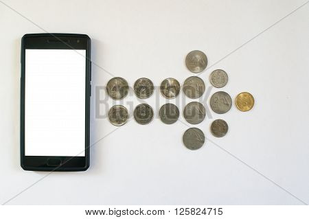 Arrow of coins from mobile phone. Mobile phone with indian currency set on a white background. Denoting payment through mobile and mobile wallets
