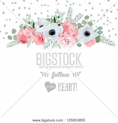 Anemone rose pink flowers and decorative eucaliptus leaves vector design card. Speckled triangle confetti backdrop. All elements are isolated and editable.