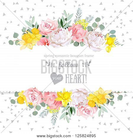 Peony rose narcissus pink flowers and decorative eucaliptus leaves vector design card. Speckled triangle confetti backdrop. All elements are isolated and editable.