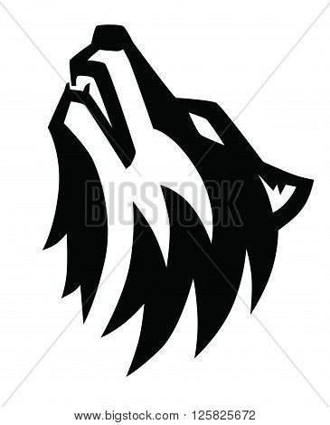 vector black wolf howl emblem on white background