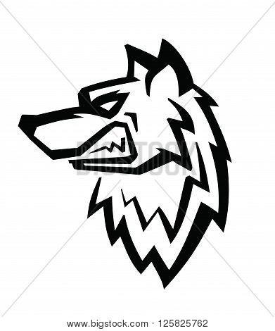 Wolf black head vector on white background
