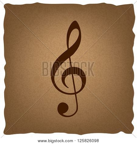 Music violin clef sign. G-clef. Treble clef. Coffee style on old paper.