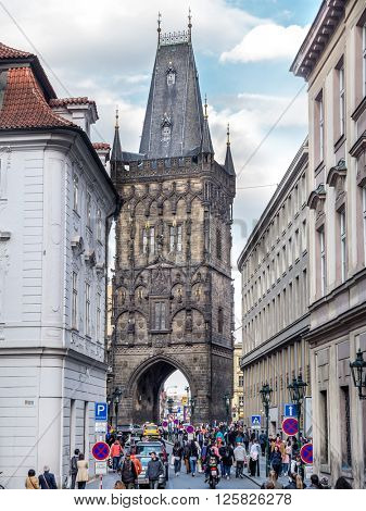 PRAGUE, CZECH REPUBLIC - MAY 02, 2015: Powder Tower or Powder Gate in Prague, Chech Republic