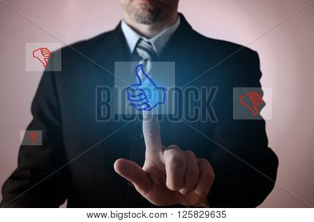Business man pointing on a thumb up icon positive business concept