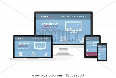 Responsive web desing on different devices. Vector illustration.
