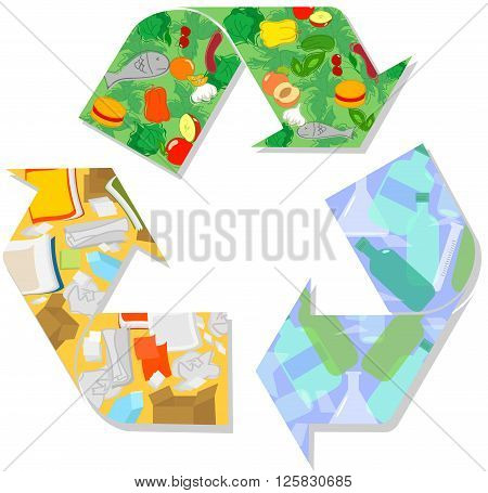 Recycling symbol with wet waste, glass and paper. Vector illustration.
