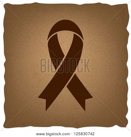 Black awareness ribbon sign. Coffee style on old paper.