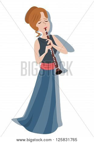 woman playing clarinet - colorful cute vector illustration