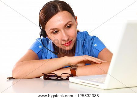bright picture of friendly female helpline operator. ** Note: Soft Focus at 100%, best at smaller sizes
