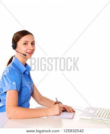 bright picture of friendly female helpline operator.